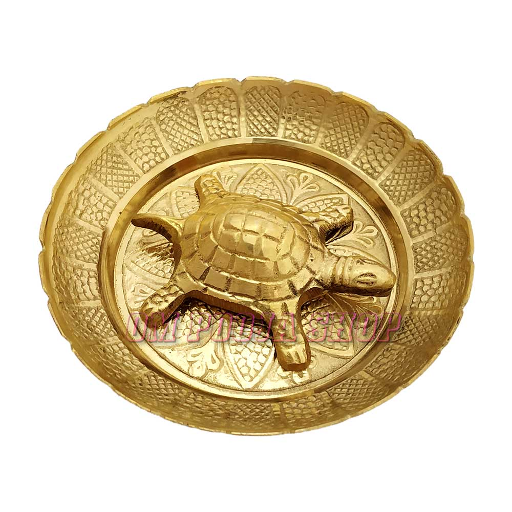 Brass Tortoise with Plate for Good Luck Feng Shui