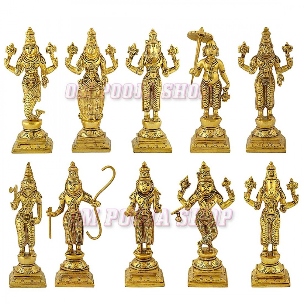 Dasavatharam of Lord Vishnu Statues in Brass