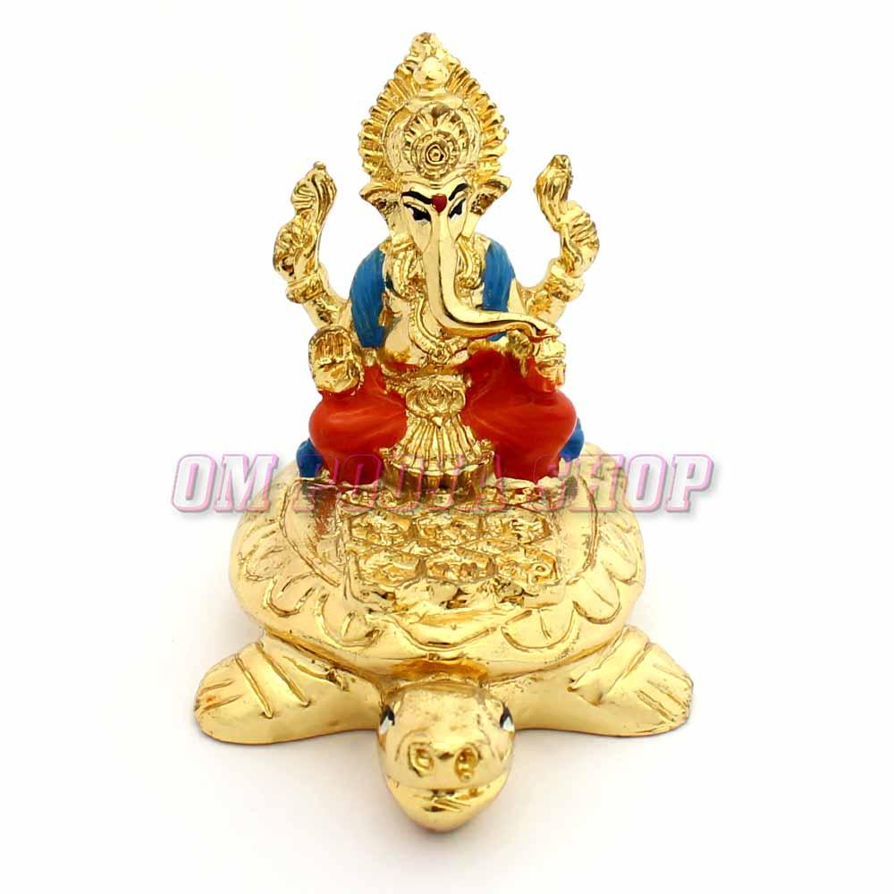 Ganesha Seating On Tortoise (Kachava) Decorative Showpiece
