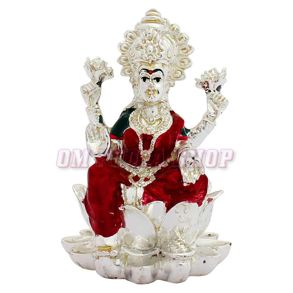 Goddess Lakshmi Silver Plated Murti