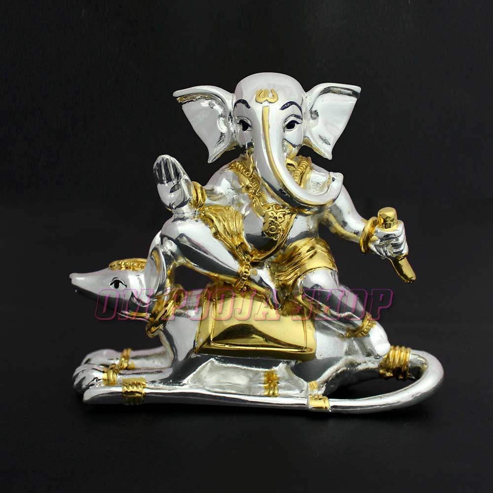 Lord Ganesha Riding on Mouse Statue