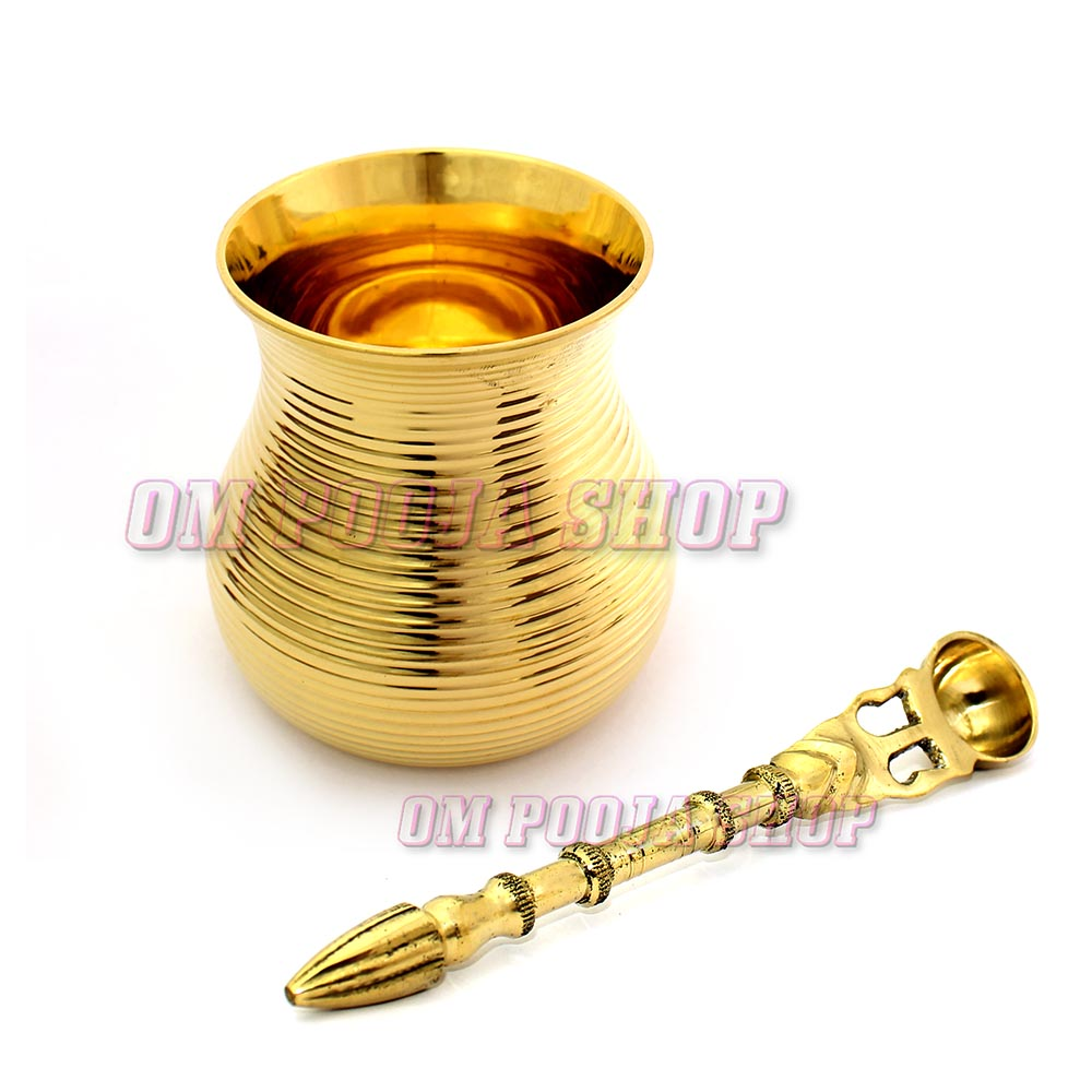 Holy Panchapatra with Spoon (Palli) set in Brass