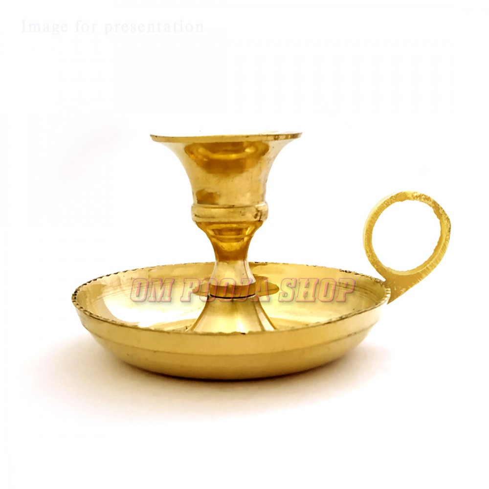 Candle Holder Deepam with Handle in Brass