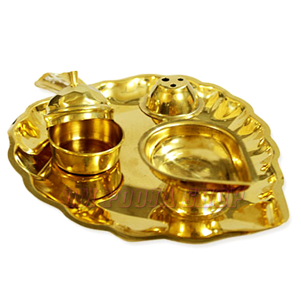 Brass Deep Thali Leaf shaped
