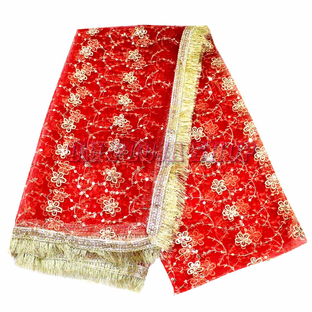 Flower Embroidery Chunri with Golden Hair Border