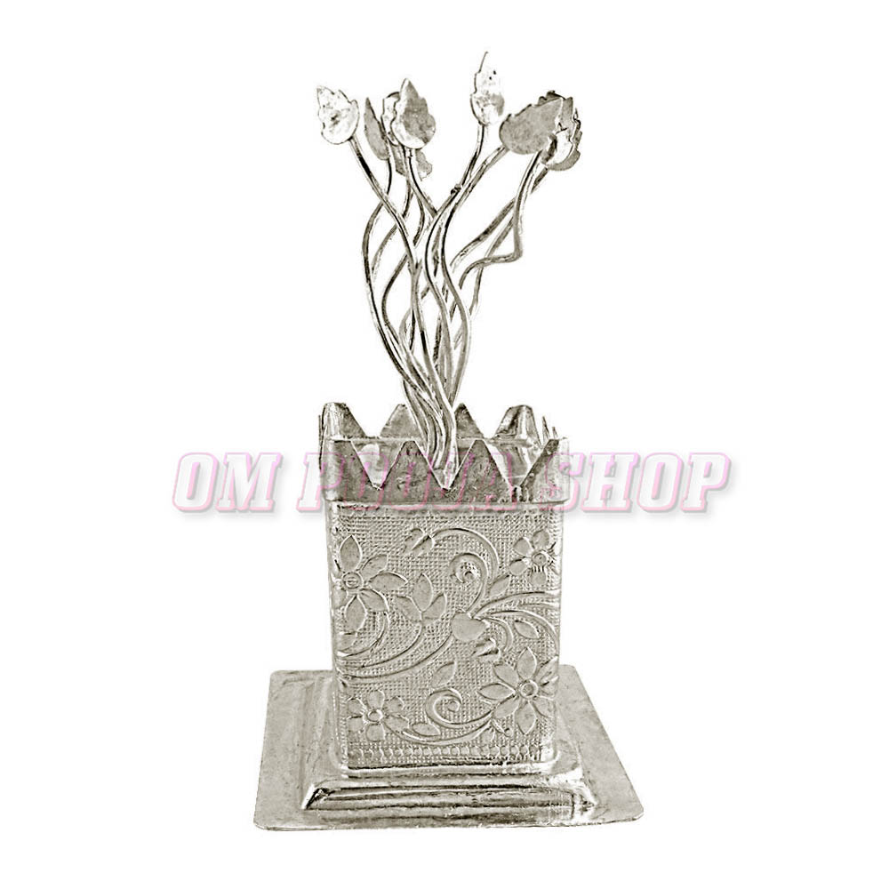 Tulsi (Holy Basil) Plant in Pure Silver